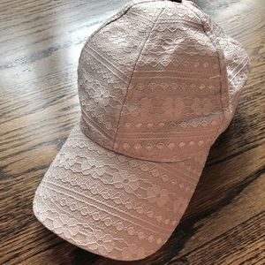 Lulla Collection Lace Textured Baseball Hat, Beige